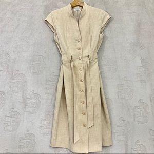 Calvin Klein Mandarin Collar Belted Khaki Dress